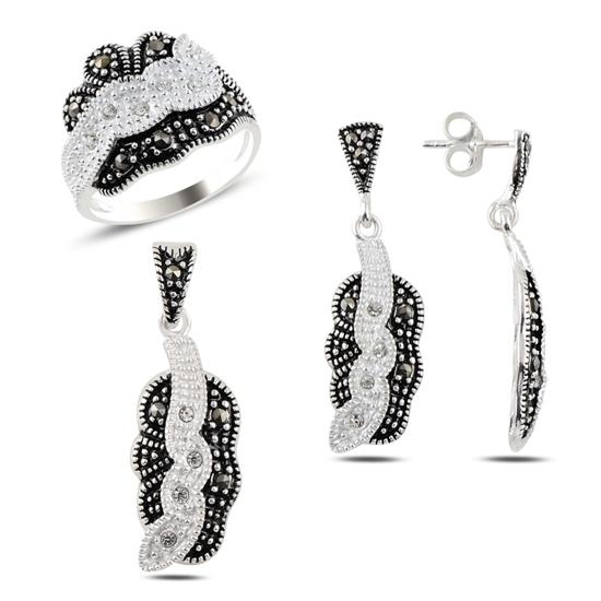 Ürün resmi: Markazit & Zirkon Taşlı Gümüş Bayan Set