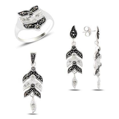 Resim Markazit & Zirkon Taşlı Gümüş Bayan Set