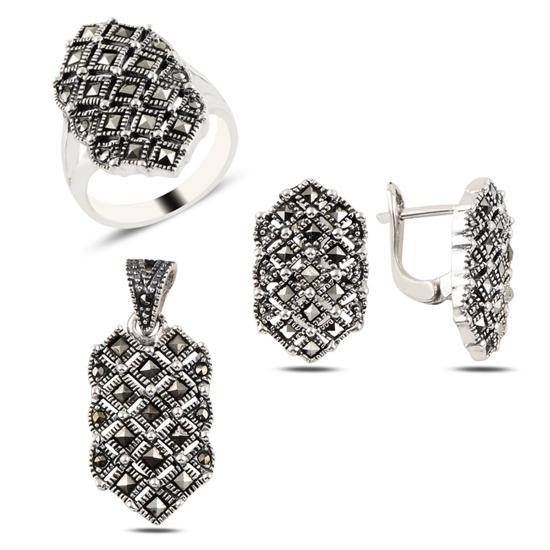 Ürün resmi: Markazit Taşlı Gümüş Bayan Set