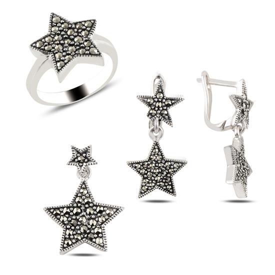 Ürün resmi: Yıldız Markazit Taşlı Gümüş Bayan Set