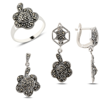 Resim Çiçek Markazit Taşlı Gümüş Bayan Set