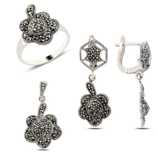 Ürün resmi: Çiçek Markazit Taşlı Gümüş Bayan Set