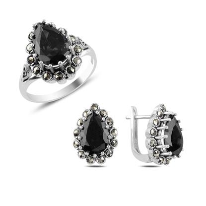 Resim Siyah Zirkon & Markazit Taşlı Gümüş Bayan Set