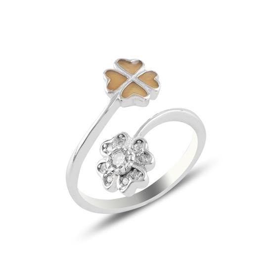 Ürün resmi: Rodyum Kaplama Çiçek Mine & Zirkon Taşlı Ayarlanabilir Boylu Gümüş Bayan Yüzük