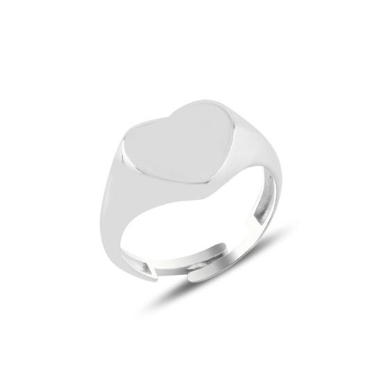 Ürün resmi: Rodyum Kaplama Kalp Taşsız Serçe Parmak Gümüş Bayan Yüzük