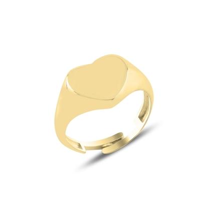 Resim Altın Kaplama Kalp Taşsız Serçe Parmak Gümüş Bayan Yüzük