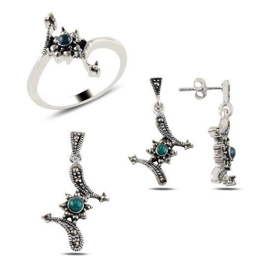 Ürün resmi: Yeşil Akik & Markazit Taşlı Gümüş Bayan Set