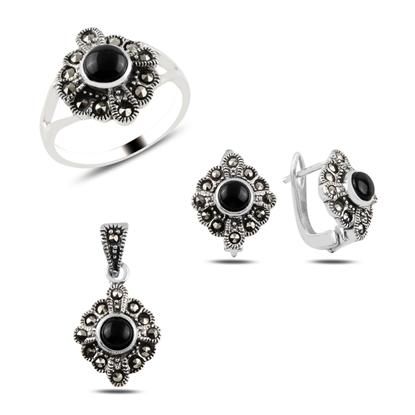 Resim Oniks & Markazit Taşlı Gümüş Bayan Set