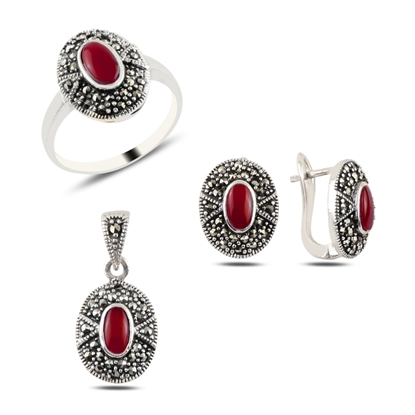 Resim Kırmızı Akik & Markazit Taşlı Gümüş Bayan Set