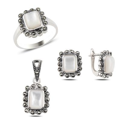 Resim Sedef & Markazit Taşlı Gümüş Bayan Set