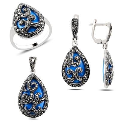 Resim Turkuaz & Markazit Taşlı Gümüş Bayan Set