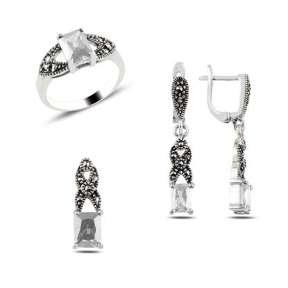 Resim Zirkon & Markazit Taşlı Gümüş Bayan Set