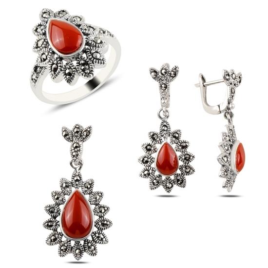 Ürün resmi: Kırmızı Akik & Markazit Taşlı Gümüş Bayan Set