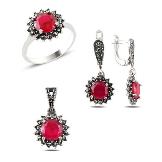 Ürün resmi: Zirkon & Markazit Taşlı Gümüş Bayan Set