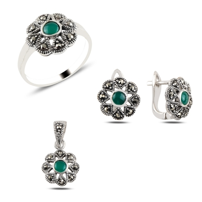Resim Yeşil Akik & Markazit Taşlı Gümüş Bayan Set