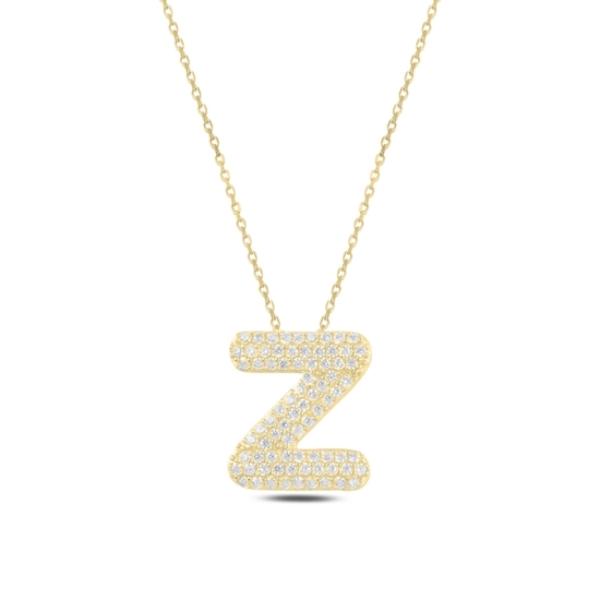 Ürün resmi: Altın Kaplama -Z- Harfi Zirkon Taşlı Gümüş Bayan Hayalet Kolye