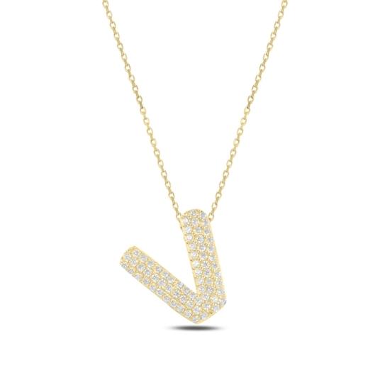 Ürün resmi: Altın Kaplama -V- Harfi Zirkon Taşlı Gümüş Bayan Hayalet Kolye