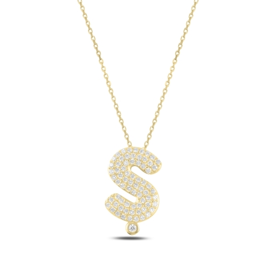 Ürün resmi: Altın Kaplama -Ş- Harfi Zirkon Taşlı Gümüş Bayan Hayalet Kolye