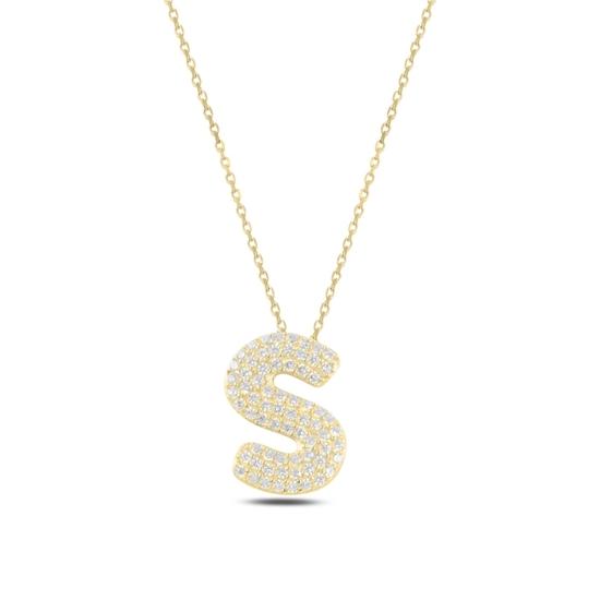 Ürün resmi: Altın Kaplama -S- Harfi Zirkon Taşlı Gümüş Bayan Hayalet Kolye