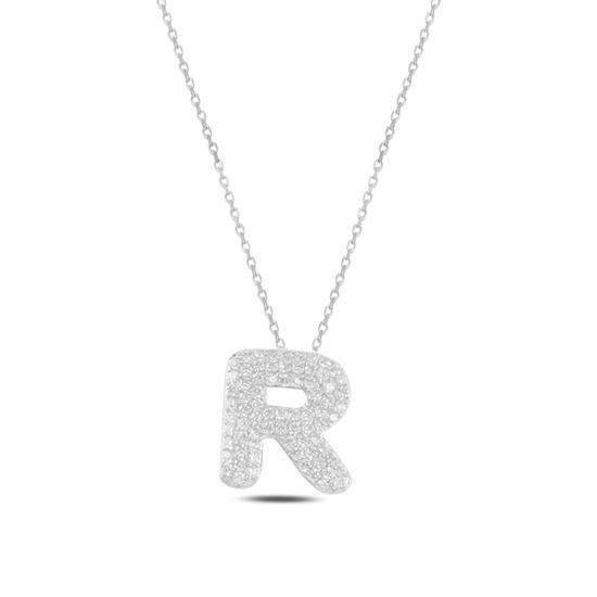Ürün resmi: Rodyum Kaplama -R- Harfi Zirkon Taşlı Gümüş Bayan Hayalet Kolye