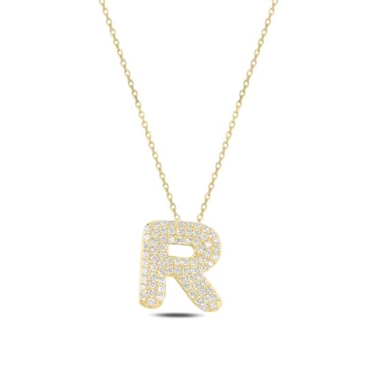 Ürün resmi: Altın Kaplama -R- Harfi Zirkon Taşlı Gümüş Bayan Hayalet Kolye