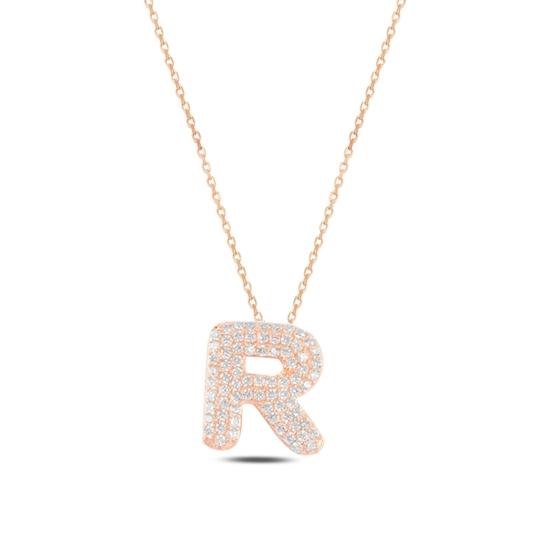 Ürün resmi: Rose Kaplama -R- Harfi Zirkon Taşlı Gümüş Bayan Hayalet Kolye