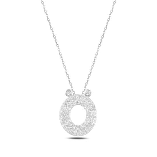 Ürün resmi: Rodyum Kaplama -Ö- Harfi Zirkon Taşlı Gümüş Bayan Hayalet Kolye