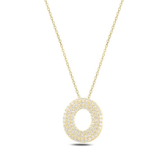 Ürün resmi: Altın Kaplama -O- Harfi Zirkon Taşlı Gümüş Bayan Hayalet Kolye