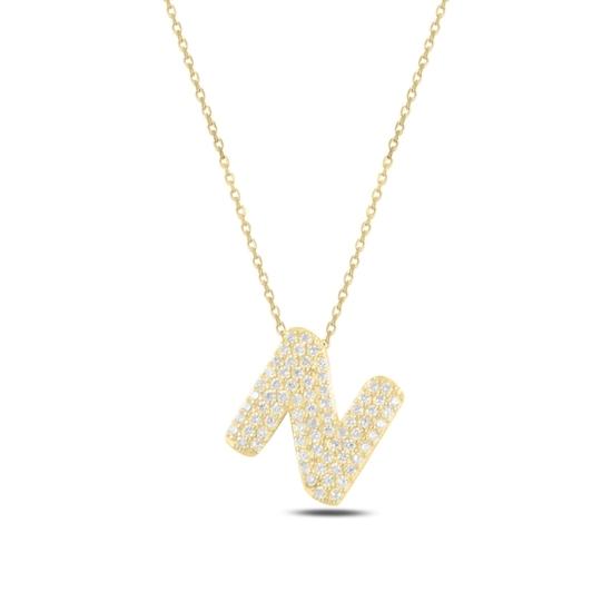 Ürün resmi: Altın Kaplama -N- Harfi Zirkon Taşlı Gümüş Bayan Hayalet Kolye