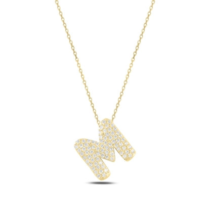 Resim Altın Kaplama -M- Harfi Zirkon Taşlı Gümüş Bayan Hayalet Kolye