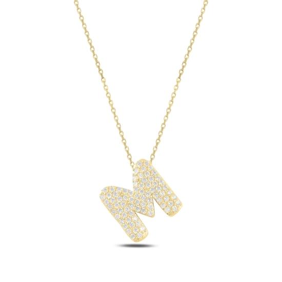 Ürün resmi: Altın Kaplama -M- Harfi Zirkon Taşlı Gümüş Bayan Hayalet Kolye