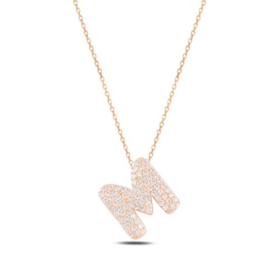 Ürün resmi: Rose Kaplama -M- Harfi Zirkon Taşlı Gümüş Bayan Hayalet Kolye