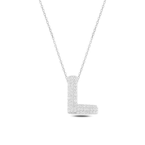 Ürün resmi: Rodyum Kaplama -L- Harfi Zirkon Taşlı Gümüş Bayan Hayalet Kolye