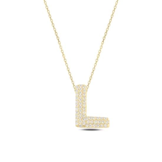Ürün resmi: Altın Kaplama -L- Harfi Zirkon Taşlı Gümüş Bayan Hayalet Kolye