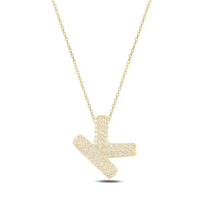Resim Altın Kaplama -K- Harfi Zirkon Taşlı Gümüş Bayan Hayalet Kolye