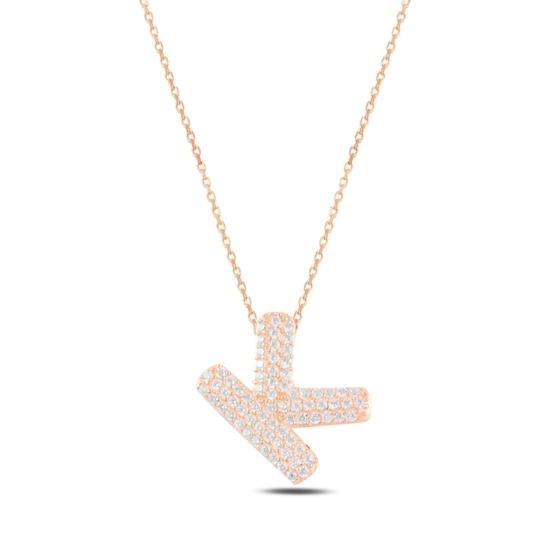 Ürün resmi: Rose Kaplama -K- Harfi Zirkon Taşlı Gümüş Bayan Hayalet Kolye