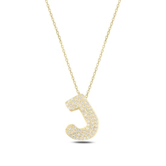 Ürün resmi: Altın Kaplama -J- Harfi Zirkon Taşlı Gümüş Bayan Hayalet Kolye