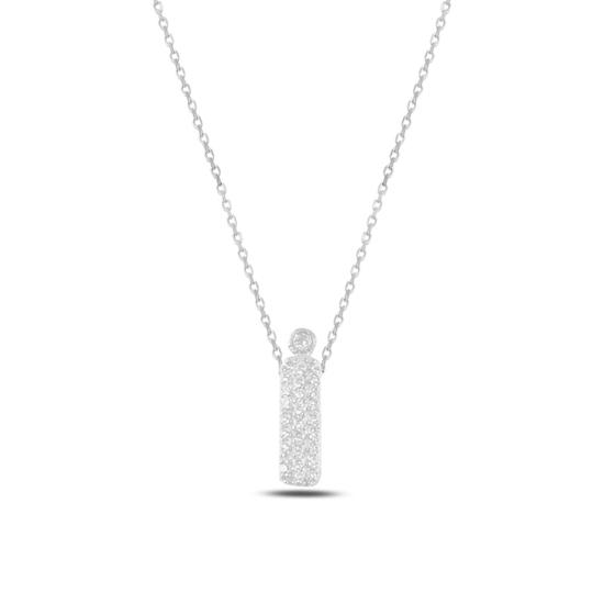 Ürün resmi: Rodyum Kaplama -İ- Harfi Zirkon Taşlı Gümüş Bayan Hayalet Kolye