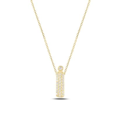 Resim Altın Kaplama -İ- Harfi Zirkon Taşlı Gümüş Bayan Hayalet Kolye