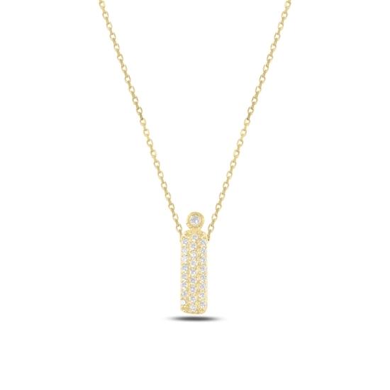 Ürün resmi: Altın Kaplama -İ- Harfi Zirkon Taşlı Gümüş Bayan Hayalet Kolye