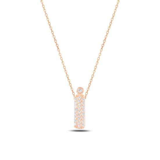 Ürün resmi: Rose Kaplama -İ- Harfi Zirkon Taşlı Gümüş Bayan Hayalet Kolye
