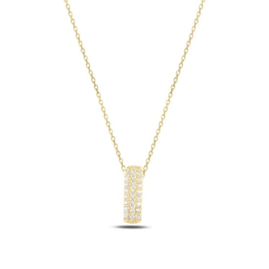 Ürün resmi: Altın Kaplama -I- Harfi Zirkon Taşlı Gümüş Bayan Hayalet Kolye