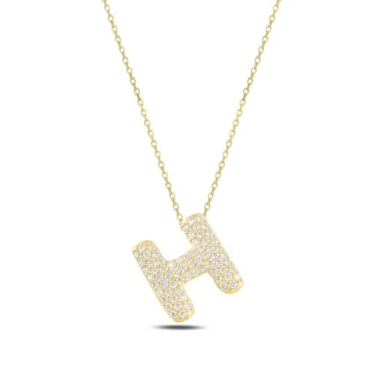 Ürün resmi: Altın Kaplama -H- Harfi Zirkon Taşlı Gümüş Bayan Hayalet Kolye