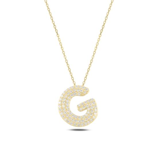 Ürün resmi: Altın Kaplama -G- Harfi Zirkon Taşlı Gümüş Bayan Hayalet Kolye
