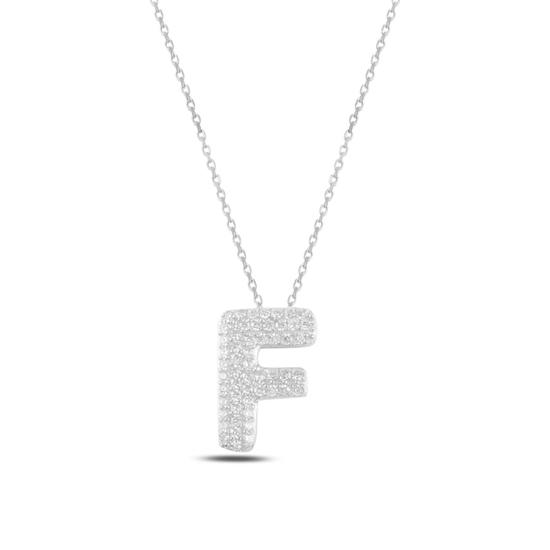 Ürün resmi: Rodyum Kaplama -F- Harfi Zirkon Taşlı Gümüş Bayan Hayalet Kolye