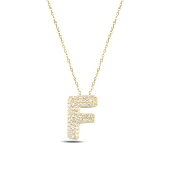 Ürün resmi: Altın Kaplama -F- Harfi Zirkon Taşlı Gümüş Bayan Hayalet Kolye