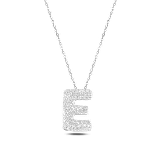 Ürün resmi: Rodyum Kaplama -E- Harfi Zirkon Taşlı Gümüş Bayan Hayalet Kolye