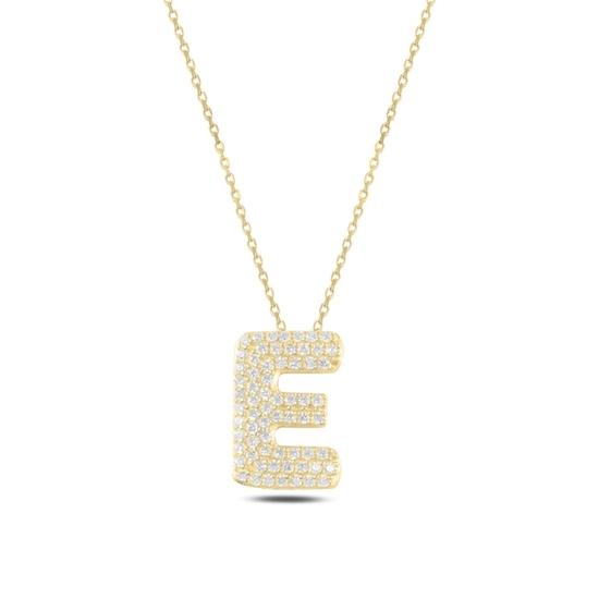 Ürün resmi: Altın Kaplama -E- Harfi Zirkon Taşlı Gümüş Bayan Hayalet Kolye