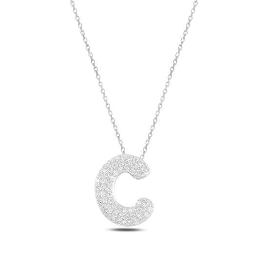 Ürün resmi: Rodyum Kaplama -C- Harfi Zirkon Taşlı Gümüş Bayan Hayalet Kolye