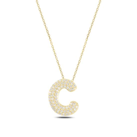 Ürün resmi: Altın Kaplama -C- Harfi Zirkon Taşlı Gümüş Bayan Hayalet Kolye